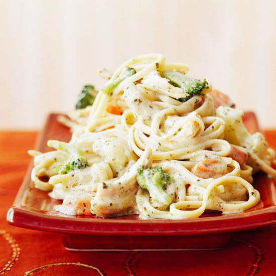 Chicken Linguine with Pesto Sauce
