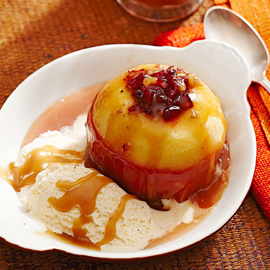 Cider-Baked Stuffed Apples with Salty Caramel Sauce