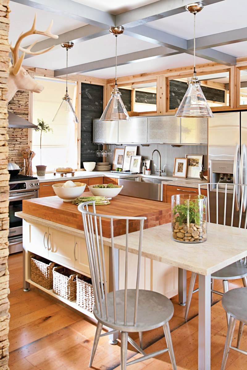 Industrial and farmhouse-style kitchen