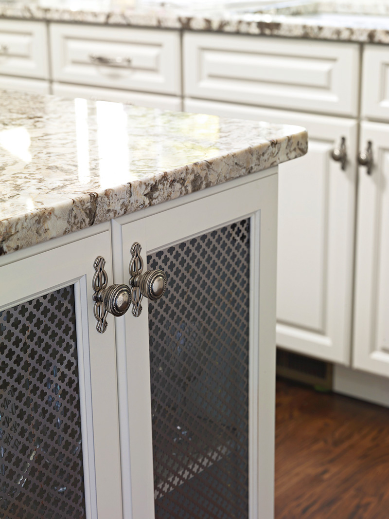 Close-up of kitchen island cabinets