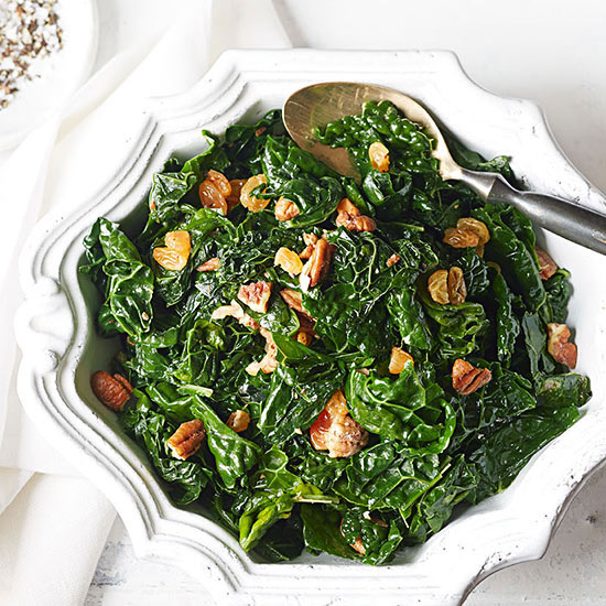 Tuscan Kale with Brown Butter, Pecans and Golden Raisins