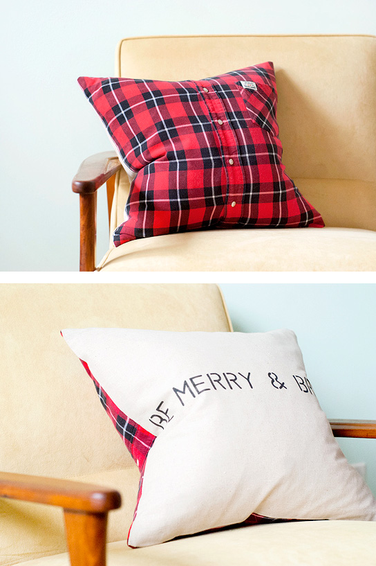 Holiday DIY flannel pillow