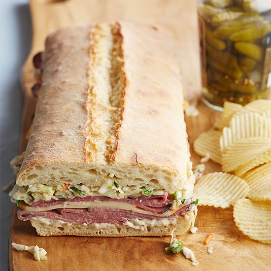 Pressed Pastrami and Slaw Sandwich