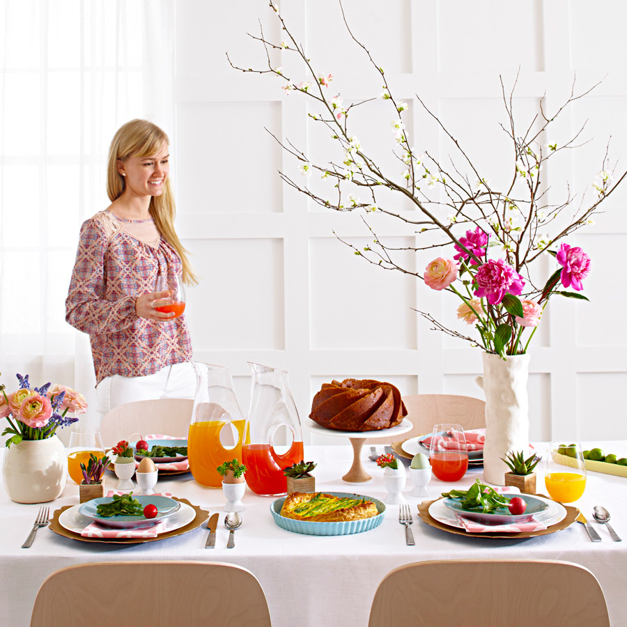 Easter brunch table set for spring