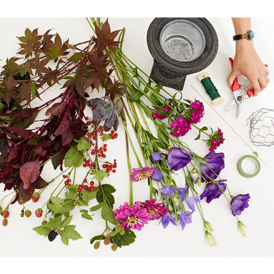 Materials for a flower garden bouquet