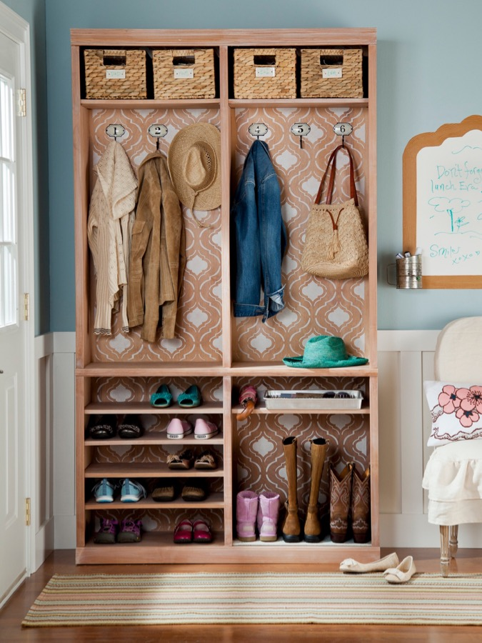 Use a bookshelf to turn an entry into a mudroom area