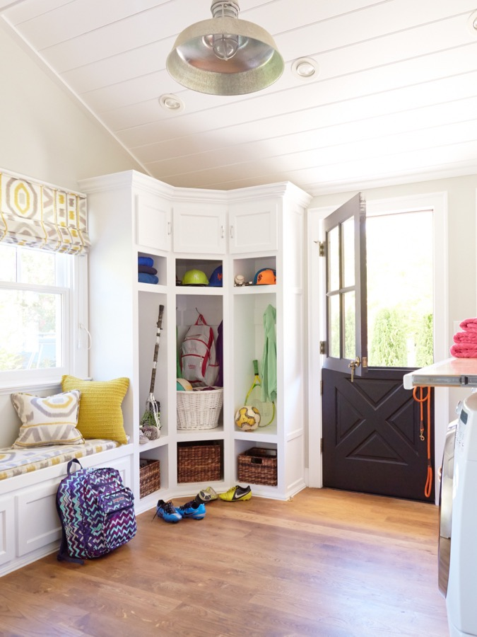 A mudroom with locker storage.