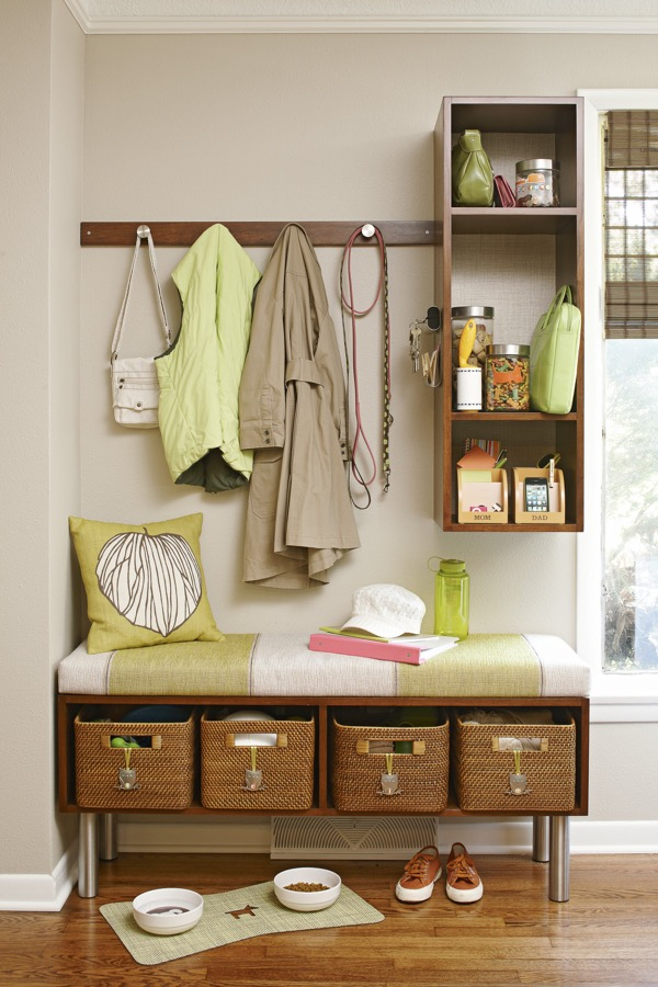 A DIY kitchen mudroom area