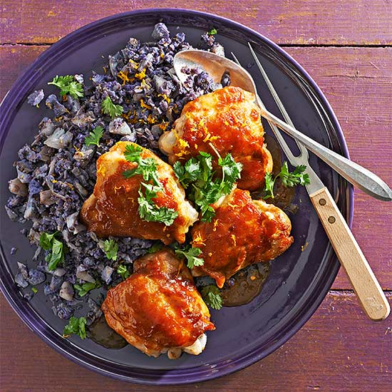 Asian Orange Chicken Thighs with Cauliflower Rice