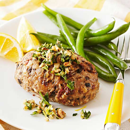 Mini Turkey Meat Loaves with Walnut-Parsley Gremolata
