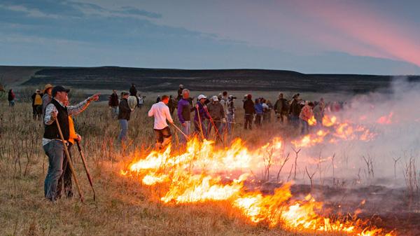 Flames in the Flint Hills annual prairie burn