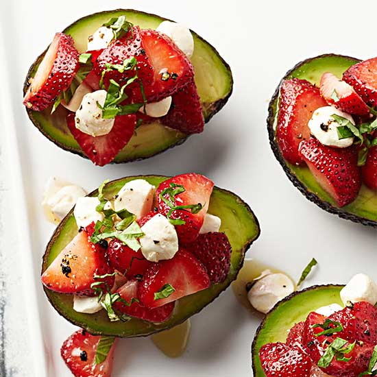 Avocados with Strawberry Caprese