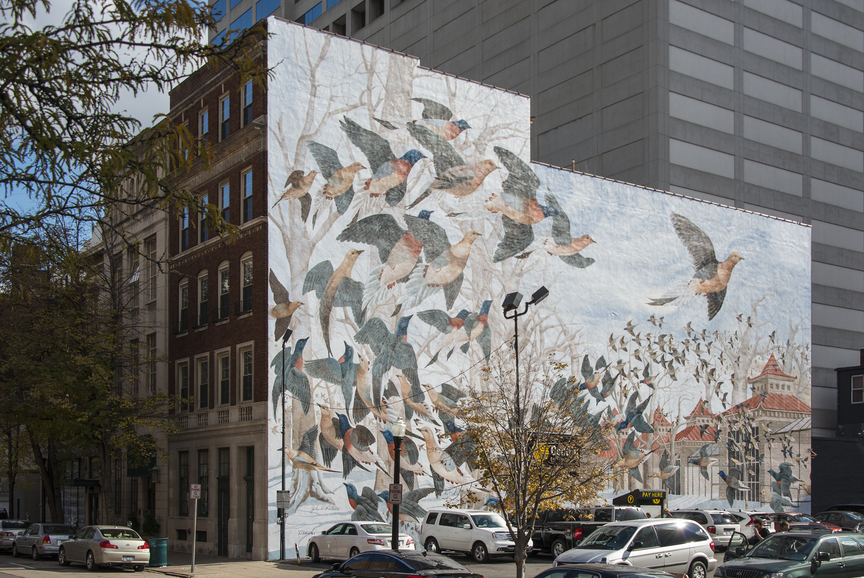 Ruthven The Last Passenger Pigeon mural