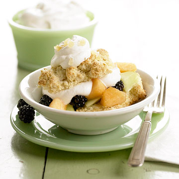 Gingered Cantaloupe and Blackberry Shortcakes