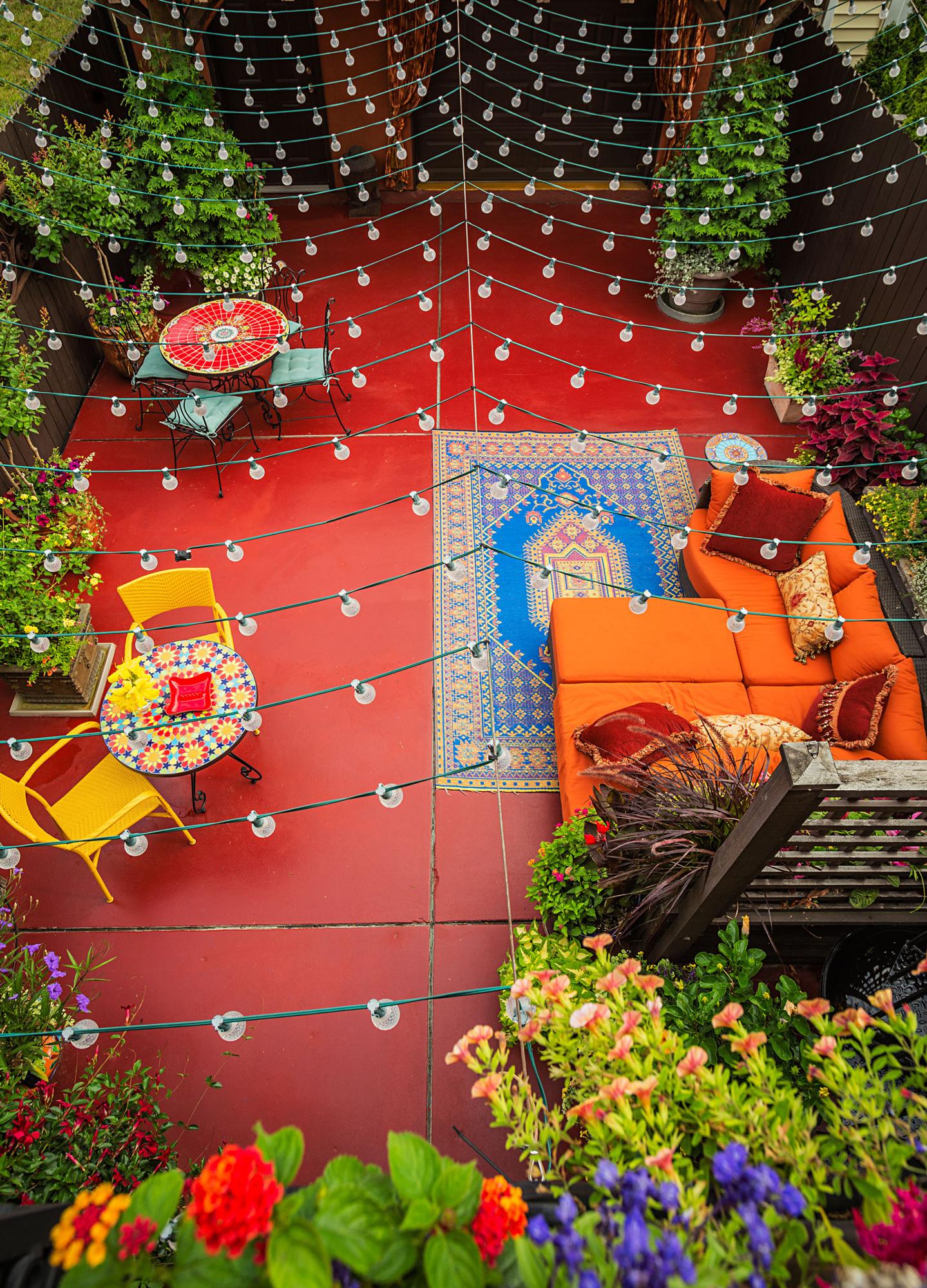 Colorful back yard retreat