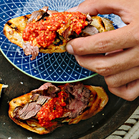 Steak and Romesco Toasts