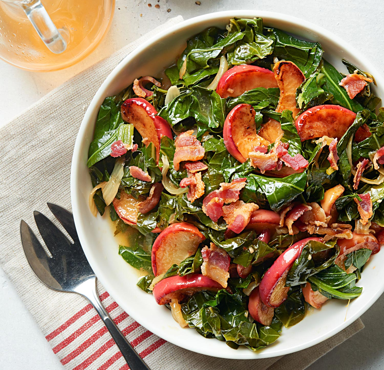 Long-Cooked Collards with Bacon and Apple