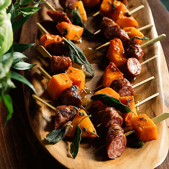 Butternut Squash and  Sausage Skewers