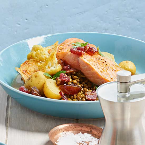 Salmon with Vegetables and Lentils