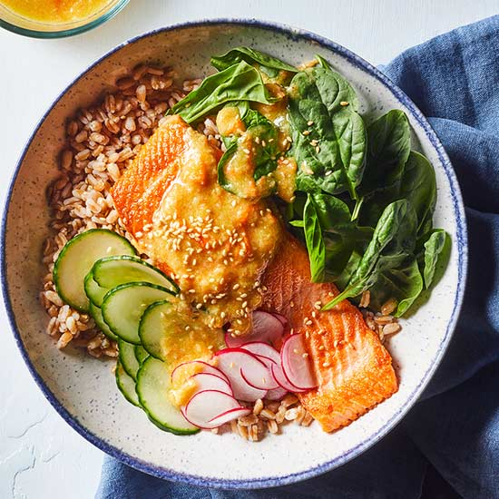 Salmon Grain Bowl with Carrot-Miso Dressing