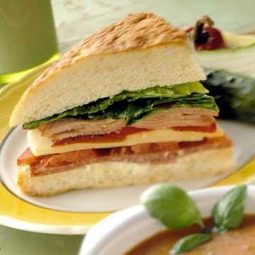 Salami and Ham Focaccia Sandwich