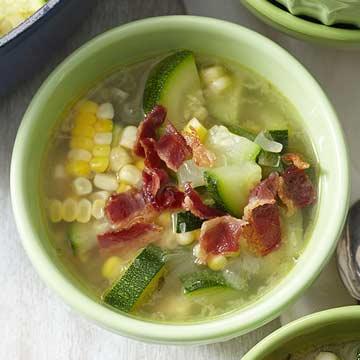 Zucchini-Corn Soup with Crispy Bacon