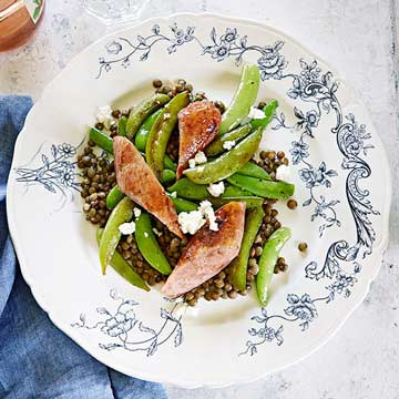 French Lentils with Sausage and Snap Peas