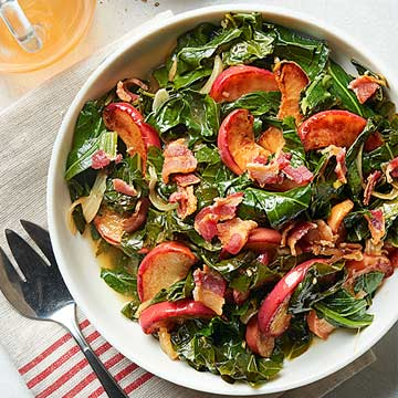Long-Cooked Collards with Apples and Bacon