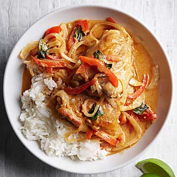 Thai-Style Chicken Curry with Basil and Jasmine Rice