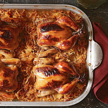 Cornish Game Hens with Root Vegetable Hash