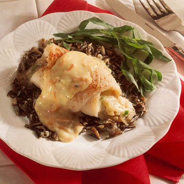 Almond-Stuffed Flounder with Creamy Tarragon Sauce