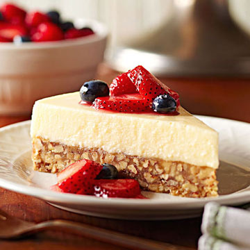 Mascarpone Flan Cake with Marinated Berries