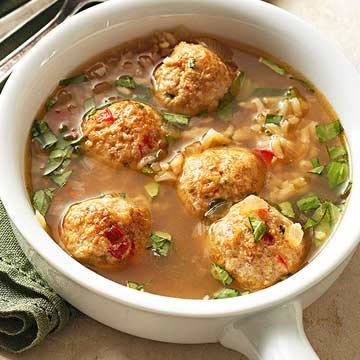 Gingered Chicken Meatball Soup with Brown Rice and Basil