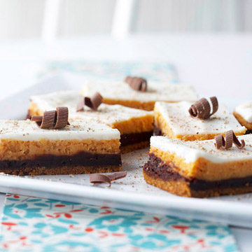 Pumpkin-Chocolate Cheesecake Bars