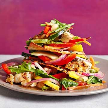 Chicken-Mango Salad with Sesame Wontons