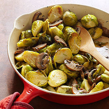 Brined Brussels Sprouts with Lemony Mushrooms