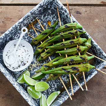 Grilled Okra with Smoked Paprika and Lime