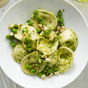 Ravioli with Peas and Lemon Pesto