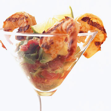 Chile-Lime Grilled Tiger Shrimp with Avocado Cocktail Sauce