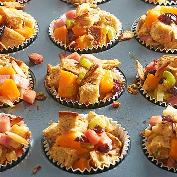 Rosemary, Cherry and Ham Stuffing Cups