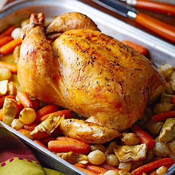 Lemon-Thyme Roast Chicken with Artichokes