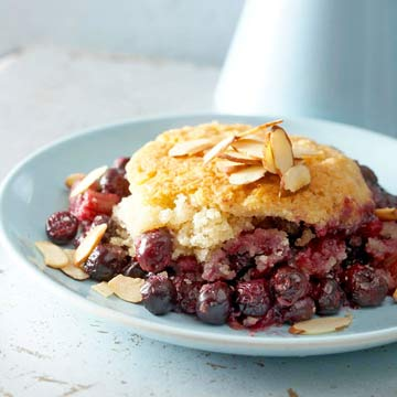 Orange-Laced Blueberry-Rhubarb Cobbler with Almond Biscuits