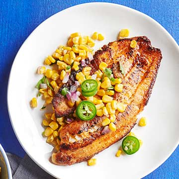 Chile-Lime Tilapia with Corn Saute