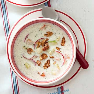 Cold Cream of Cucumber Soup with Shrimp