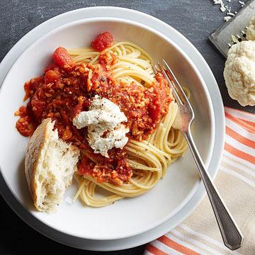 Hidden-Veggie Spaghetti with Ricotta