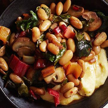 Chard, Mushrooms and Beans over Parmesan Polenta