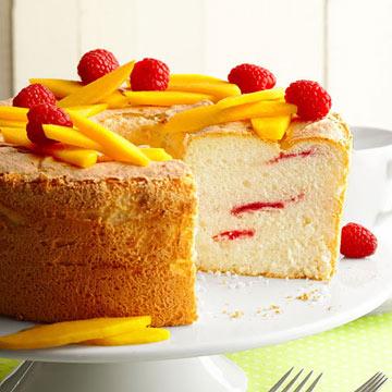 Raspberry Swirl Angel Food Cake