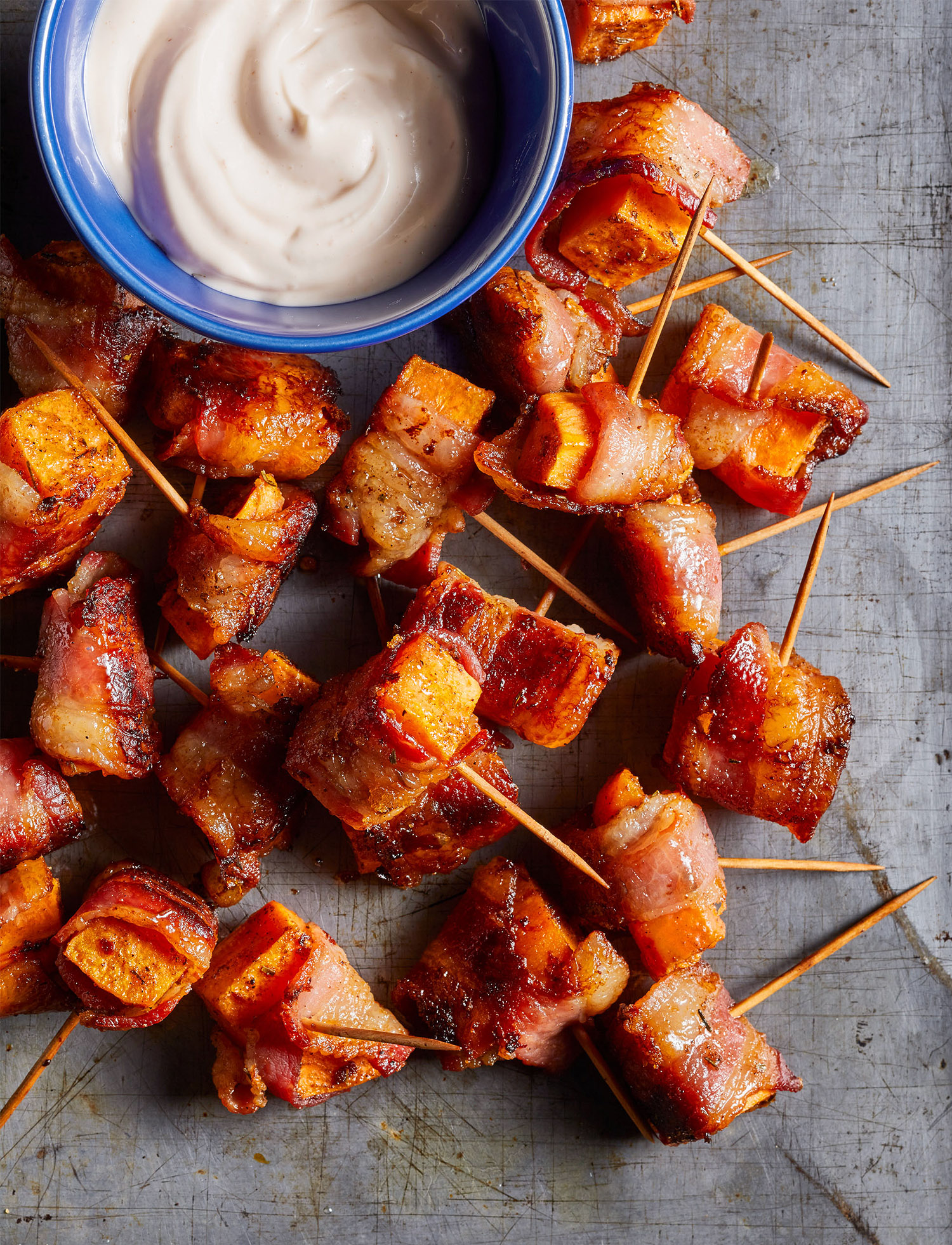 Bacon-Wrapped Sweet Potato Bites with Lime-Sriracha Mayo