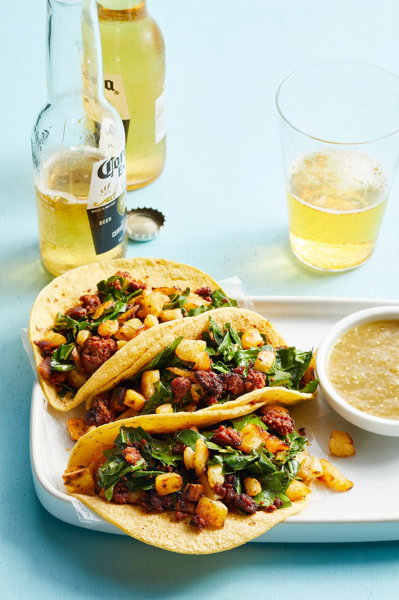 Chorizo-Potato Tacos with Collards
