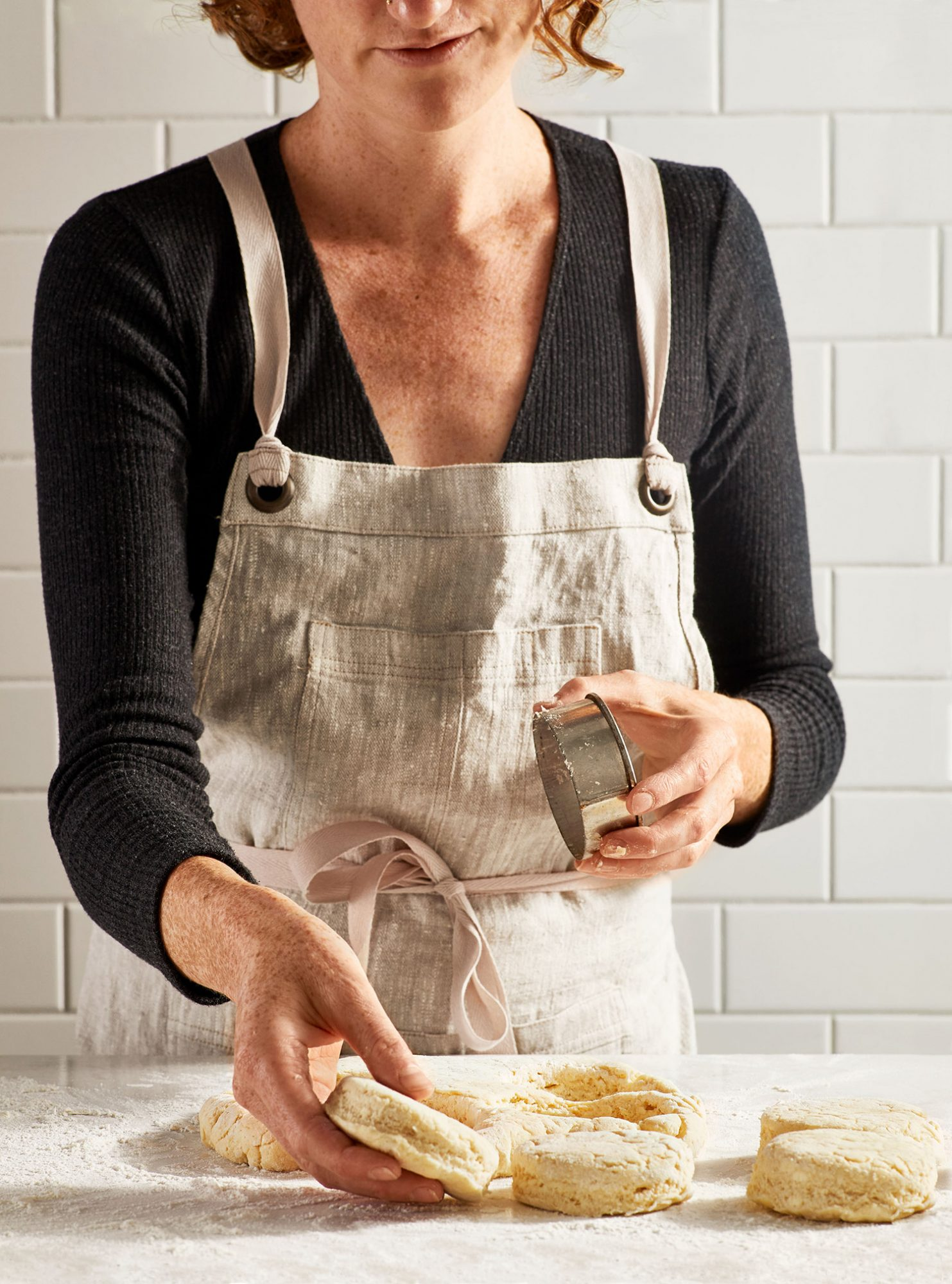 Woman Making Flaky Biscuits